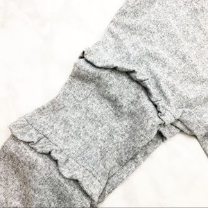 Cotton Emporium Tops - Gray Cropped Ruffle Sleeve Sweatshirt